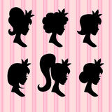 Little princesses vector portrait. Young girl faces with crown black profiles. Silhouette of head portrait young princess illustration Royalty Free Stock Images