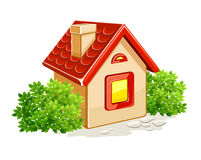 Little private house in green bushes Royalty Free Stock Image