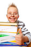 Little prof. Essor with many books showing thumbs up Royalty Free Stock Photos