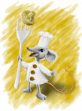 Little proud cook. Mouse cook in white clothes with three big buttons and tall cap on the head. Mouse holds fork with a mushroom on it royalty free illustration
