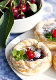 Little puff pastry round cakes with a cherry filling Royalty Free Stock Image