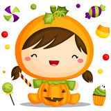 Little pumpkin costume Royalty Free Stock Photo