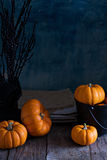 Little pumpkins on Halloween table Royalty Free Stock Images