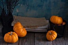 Little pumpkins on Halloween table Stock Photography