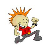 Little punk running. Cartoon illustration of a little punk running Stock Image
