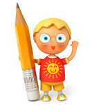 Little pupil holding a big pencil Stock Images