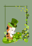 Little puppy in a green top hat Stock Images