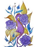 Little purple dragon sitting in flowers vector illustration