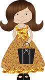 Little Purse Girl 3. This fall season dressed little girl is holding a black chic purse or tote bag. She is dressed in a pattern I thought came out as looking Stock Image