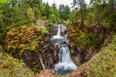 Little Qualicum Falls on Vancouver Island, Canada. Wide angle perspective of Upper Falls at Little Qualicum Falls near Qualicum Beach and Parksville on Vancouver Stock Images