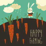 Little rabbit and carrot field Stock Images
