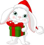Little rabbit with Christmas gift Stock Photo