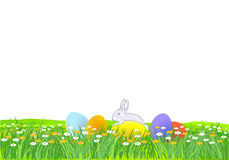 Little Rabbit and Easter Eggs Royalty Free Stock Photo