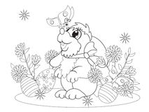 Little rabbit met a butterfly. Page from destroy books-coloring pages for kids creativity. The Easter Bunny Royalty Free Stock Photo