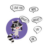 Little raccoon character unpleasantly surprised, asking What in speech bubble Royalty Free Stock Photography
