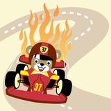 Car racing competition with funny racer stock illustration