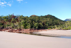 Little Ramsay Bay on Hinchinbrook Island. Hinchinbrook Island in north Queensland, Australia, is a haven for bushwalkers. The Thorsborne Track is a 32km trail Stock Images