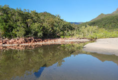 Little Ramsay Bay on Hinchinbrook Island. Hinchinbrook Island in north Queensland, Australia, is a haven for bushwalkers. The Thorsborne Track is a 32km trail Royalty Free Stock Photography
