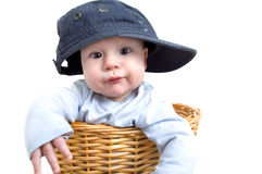 Little rapper. Baby exempted as a rapper with baseball cap in the laundry basket Stock Photography