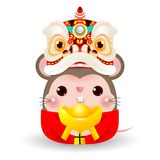 Little rat with Lion Dance Head holding Chinese gold, Happy Chinese new year 2020 year of the rat zodiac, Cartoon vector