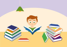 Little reader with a stack of books. Vector illustration with a pile of books. Little boy reading a book. Stacked multi color books Stock Photos