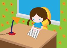 Little reading girl Royalty Free Stock Photos