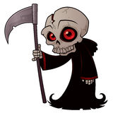Little Reaper. Vector cartoon illustration of a little Grim Reaper with red eyes holding a scythe stock illustration