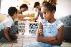 Free Little Rebelious Girl Has Conflict With Family. Family Problems. Social Misbehaviour. Royalty Free Stock Photo - 172076945