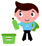Little recycle super hero recycling garbage Stock Images