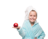 Little red apple on her palm Royalty Free Stock Photos