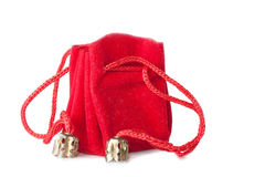 Little red bag. A little red bag for jewelry isolated over white Royalty Free Stock Image