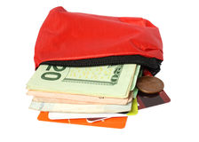 Little red bag with money Royalty Free Stock Images