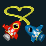 Little red and blue rocket ships with heart Royalty Free Stock Photos