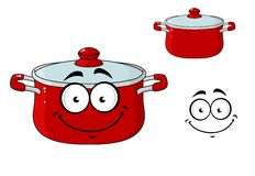 Little red cartoon cooking saucepan with a lid Royalty Free Stock Photography