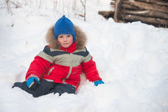 Little red-cheeked boy sitting in the snow in the winter in the forest Stock Images