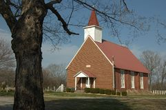 Little Red Country Church Stock Photo