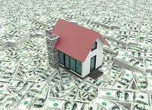 Little red 3D houses on the pile of money in  background Stock Photos
