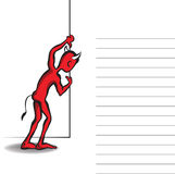 Little red devil lurking behind the wall. Vector illustration of the devil with a text lines. Space for copy/text Royalty Free Stock Photos