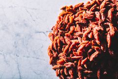 Little red dried goji berries on a pile. Superfoods Royalty Free Stock Photo