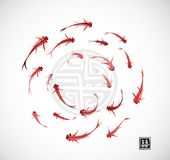 Little red fishes in circle on white background. Traditional oriental ink painting sumi-e, u-sin, go-hua.. Little red fishes in circle on white background Royalty Free Stock Images