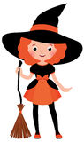 Little red haired girl with a broom in Halloween witch costume. On a white background Stock vector cartoon illustration Stock Photography