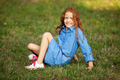 Little red-haired girl royalty free stock image