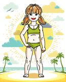 Little red-haired girl cute child standing on tropical beach wit. H palms. Vector pretty nice human illustration. Summertime and vacation theme Stock Photo