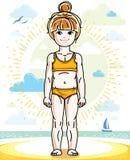Little red-haired girl cute kid standing on beach in bikini. Vec Stock Photos