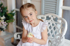 The little red-haired girl with pigtails holding a yellow chicke Stock Image