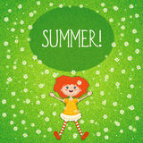 Little red-haired girl, summer, green sunny meadow. Vector illustration of a little red-haired girl lying in summer on a green sunny meadow with white flowers. A Stock Image