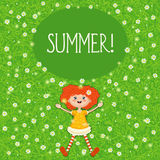 Little red-haired girl, summer, green sunny meadow. Vector illustration of a little red-haired girl lying in summer on a green sunny meadow with white flowers. A Royalty Free Stock Photography