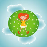 Little red-haired girl, summer, green sunny meadow. Vector illustration of a little red-haired girl lying in summer on a green sunny meadow with white flowers on Royalty Free Stock Images