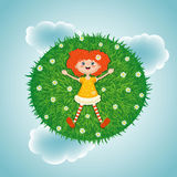 Little red-haired girl, summer, green sunny meadow. Vector illustration of a little red-haired girl lying in summer on a green sunny meadow with white flowers on Royalty Free Stock Photography