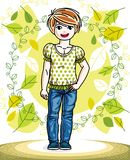 Little red-haired girl toddler standing on background of spring. Landscape and wearing fashionable casual clothes. Vector attractive kid illustration. Fashion Stock Photography